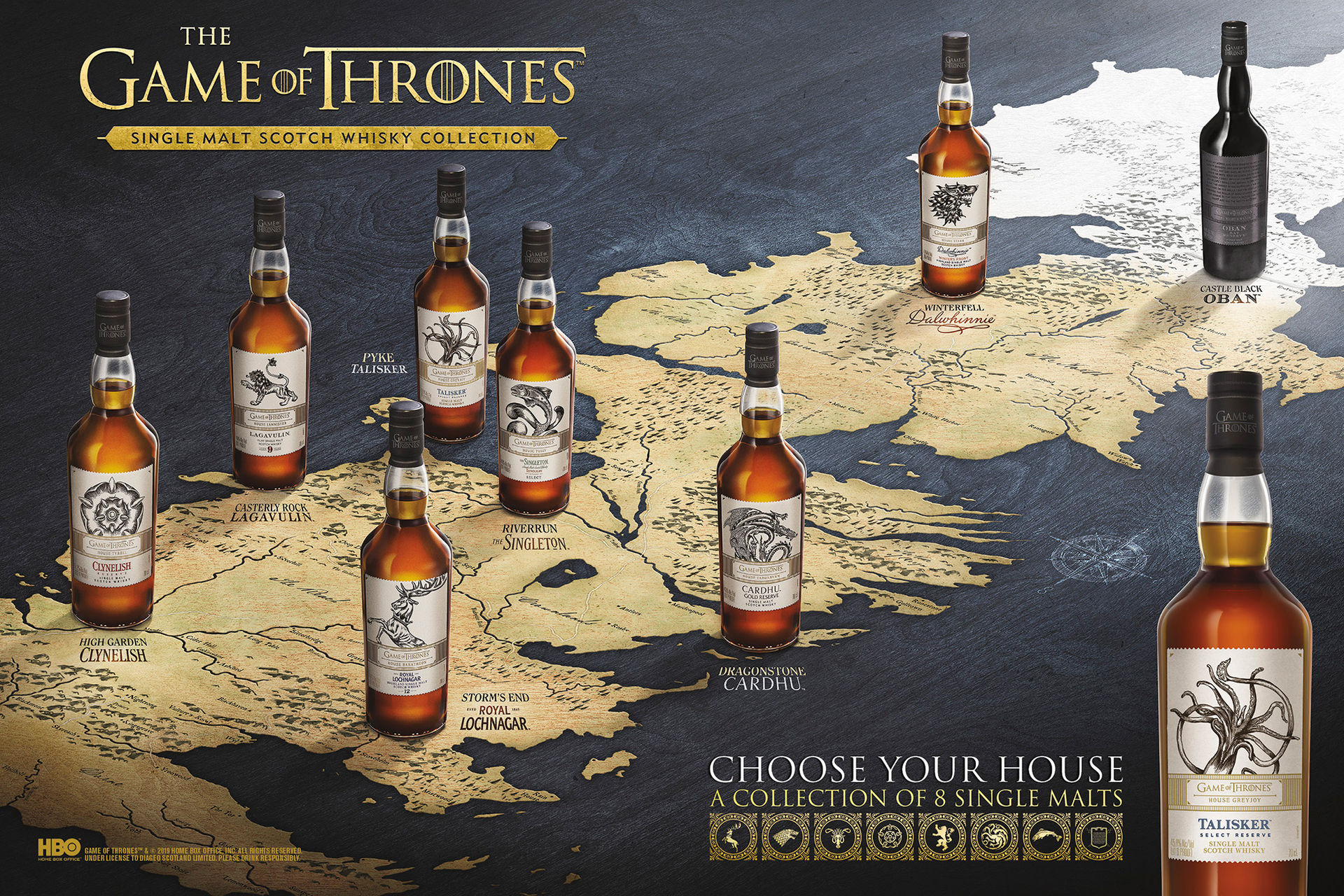 8 stycken flaskor med Game of Thrones-whisky