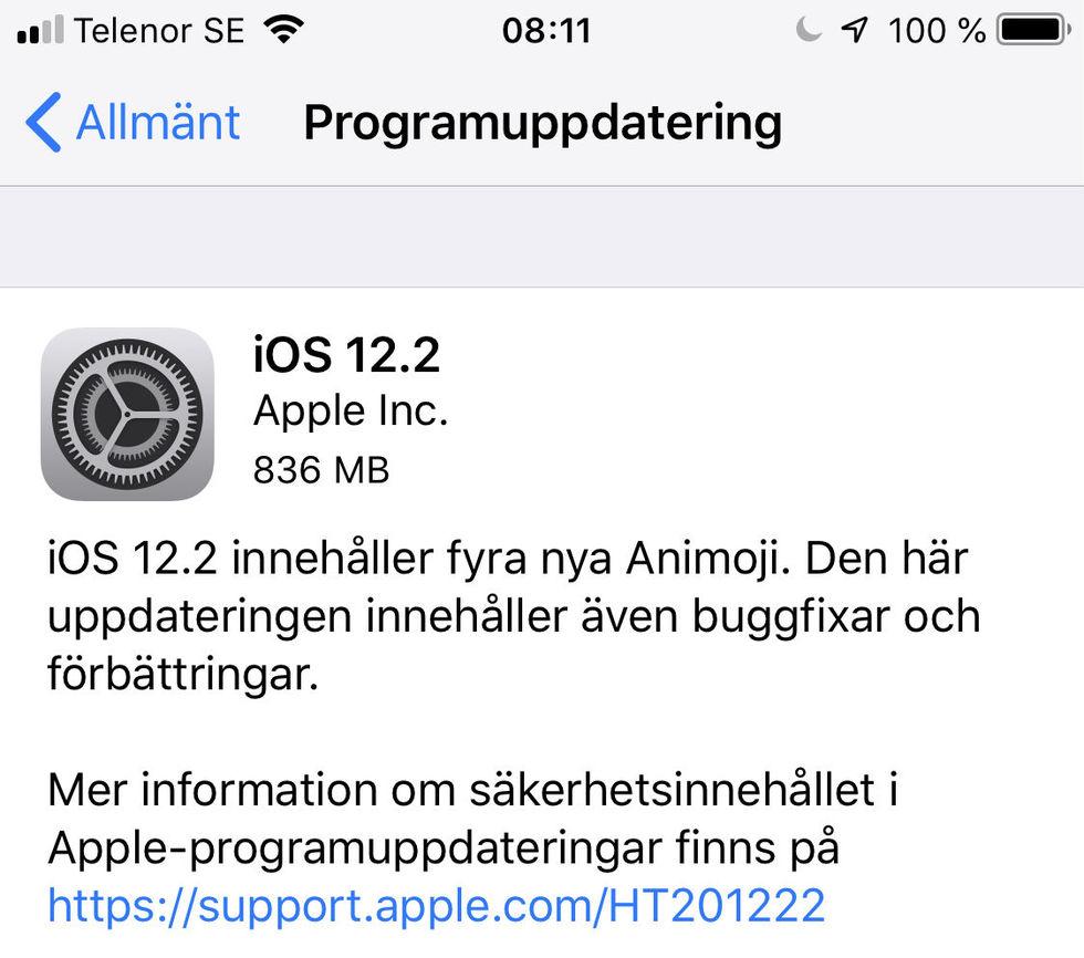 Apple släpper iOS 12.2