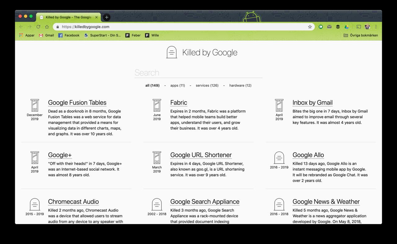 Killed by Google samlar alla grejer som Google skrotat