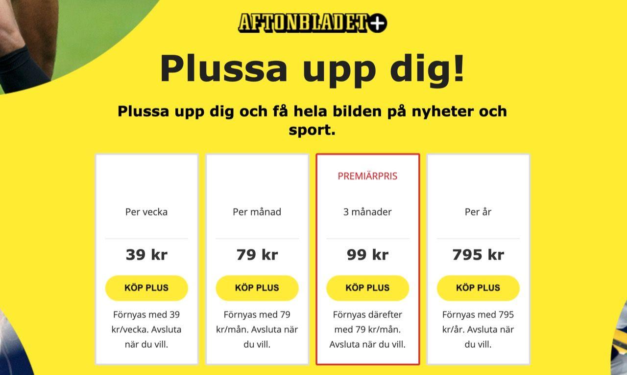 Aftonbladet Plus blir en tia dyrare
