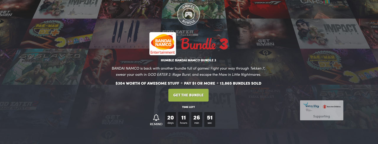 Fynda Bandai Namco-spel i ny Humble Bundle