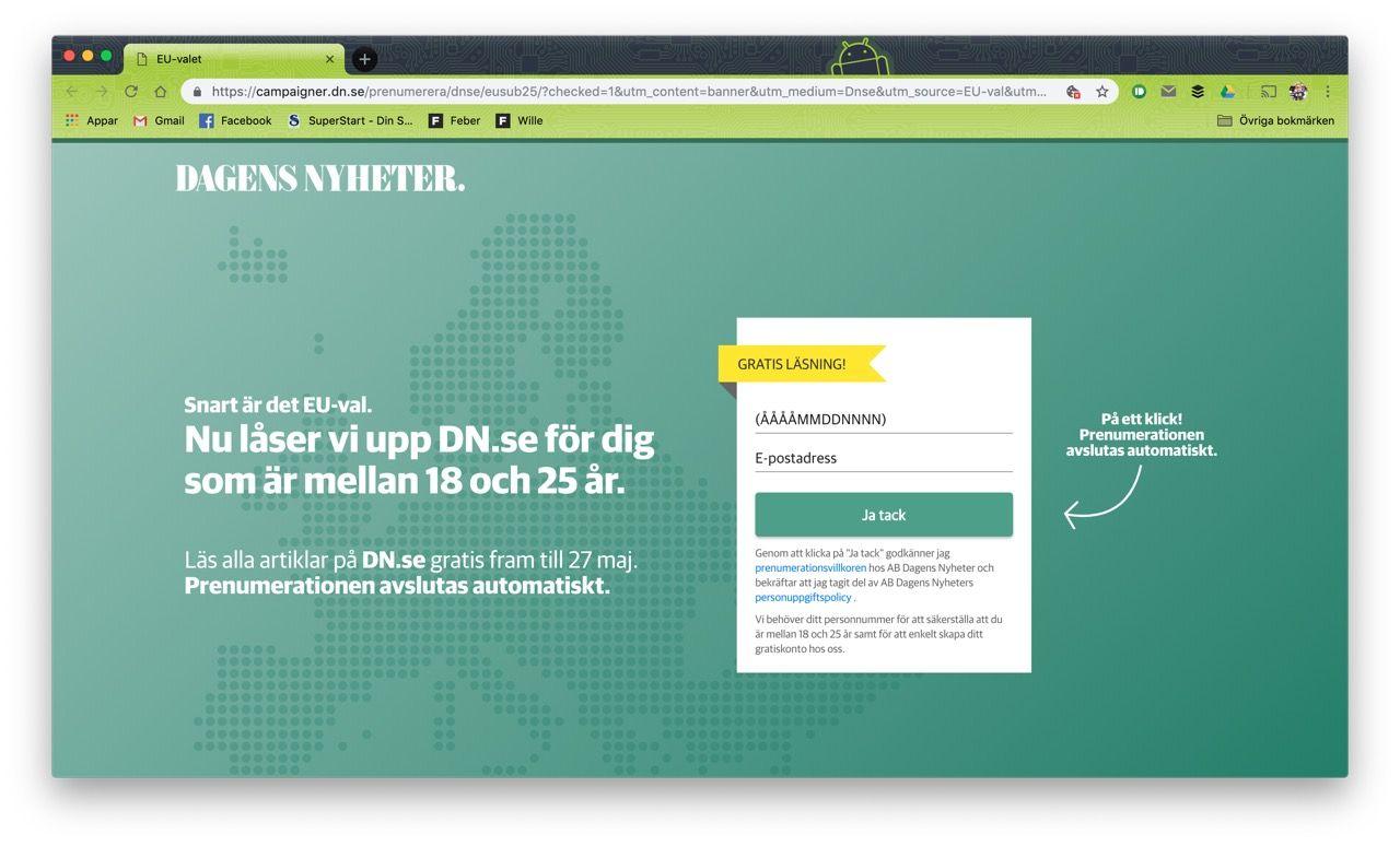 DN.se blir gratis för förstagångsväljare igen
