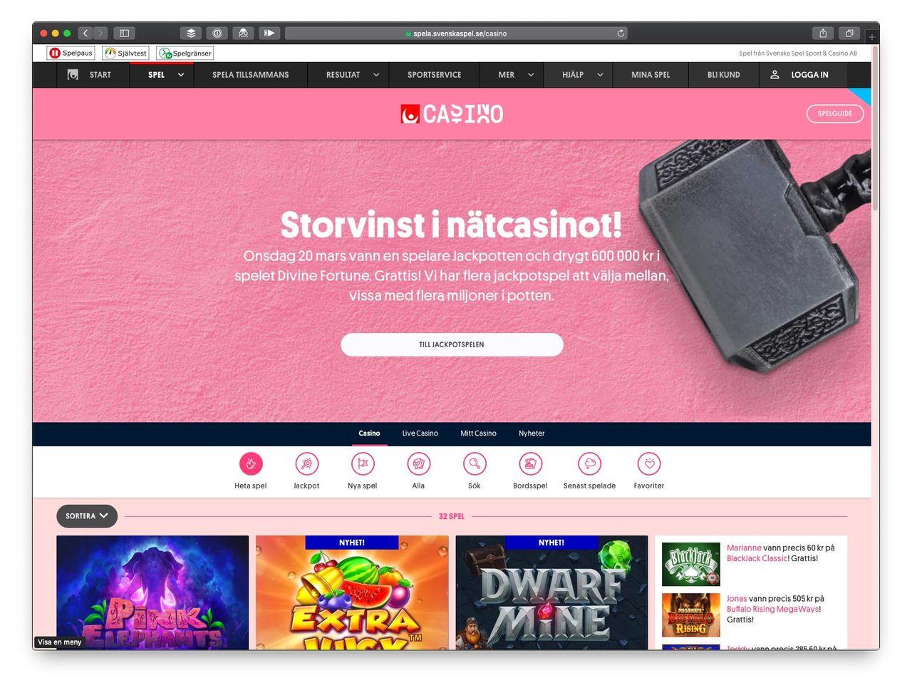 Svenska spel stoppar sin reklam för nätkasinot