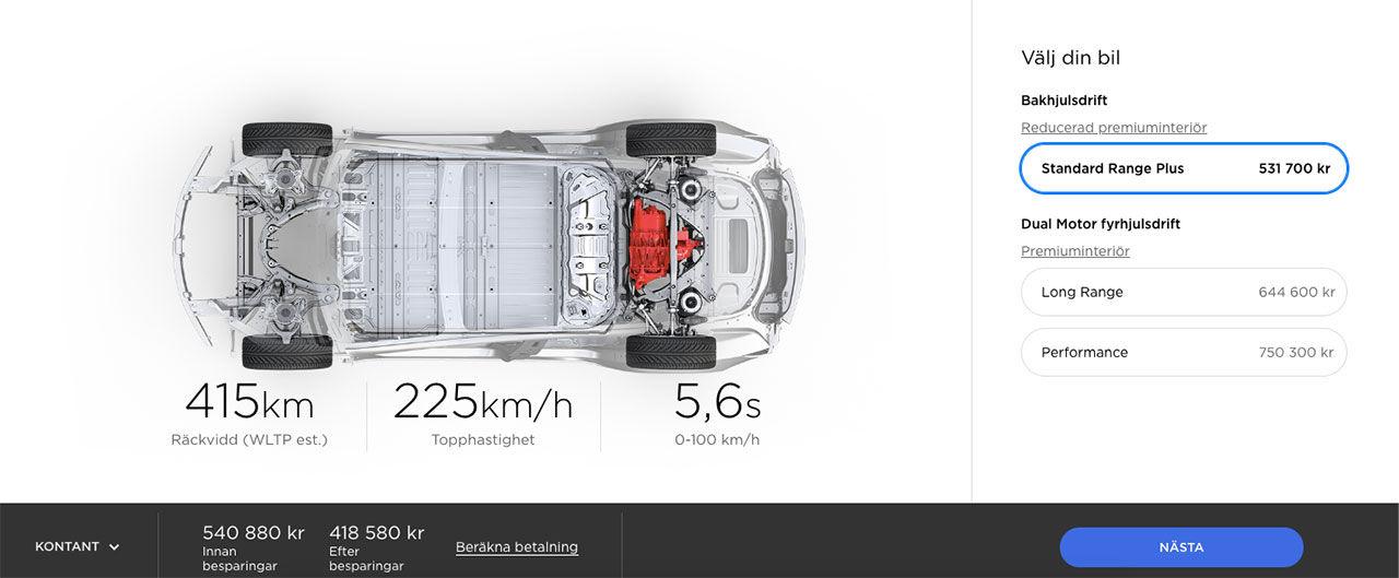 Tesla Model 3 nu från 540.880 kronor