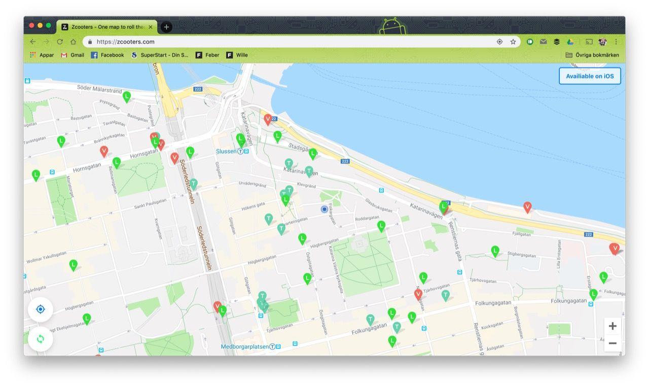 Håll koll på var det finns lediga elsparkcyklar med Zcooters