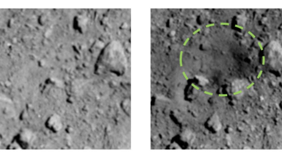 Kolla in en människoskapad krater på en asteroid