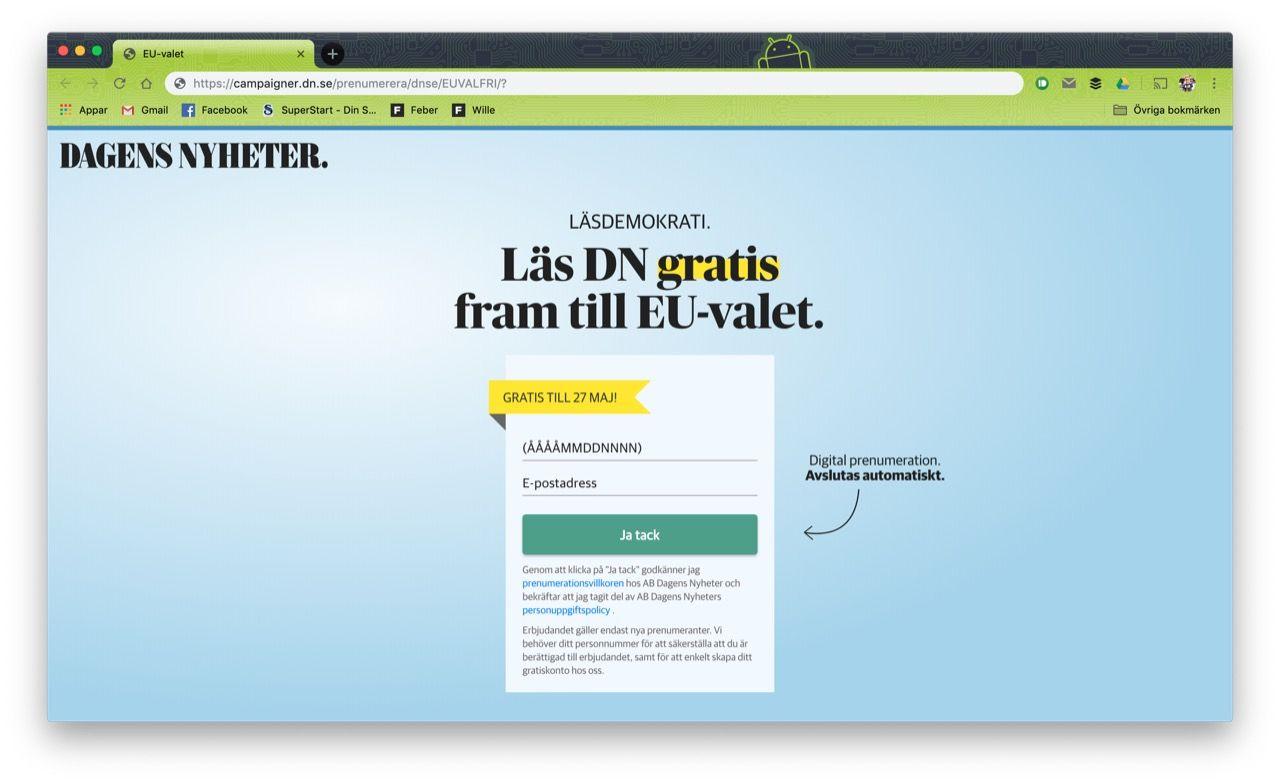 Nu kan alla läsa DN.se gratis fram till EU-valet