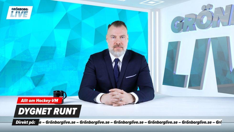 Virtuellt nyhetsankare kommenterar ishockey-VM