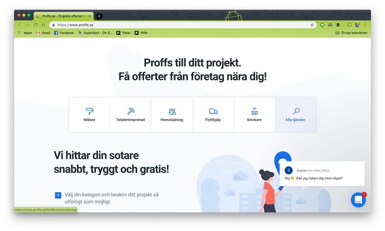 Hitta.se lanserar tjänsten Proffs.se