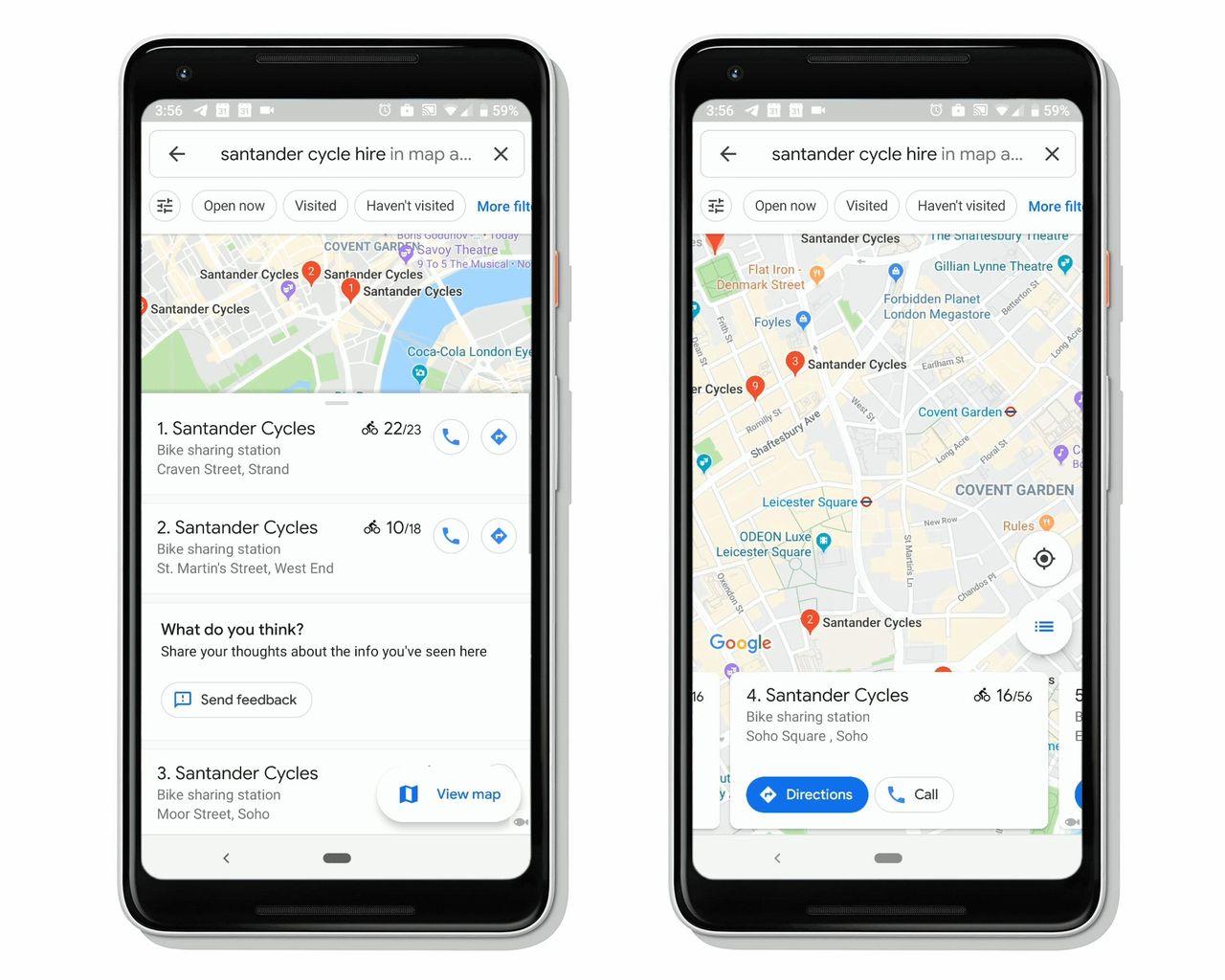 Google Maps börjar visa var det finns lediga cyklar