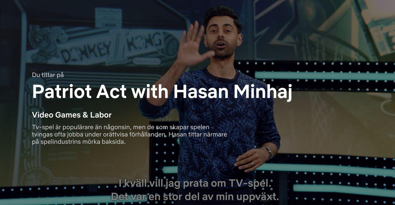 Hasan Minhaj pratar om hur spelbranschen utnyttjar arbetskraft