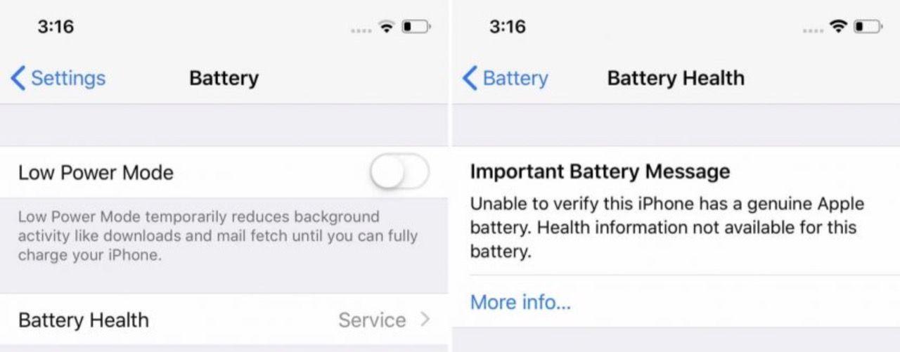 Apple börjar varna när man byter batteri i iPhone själv