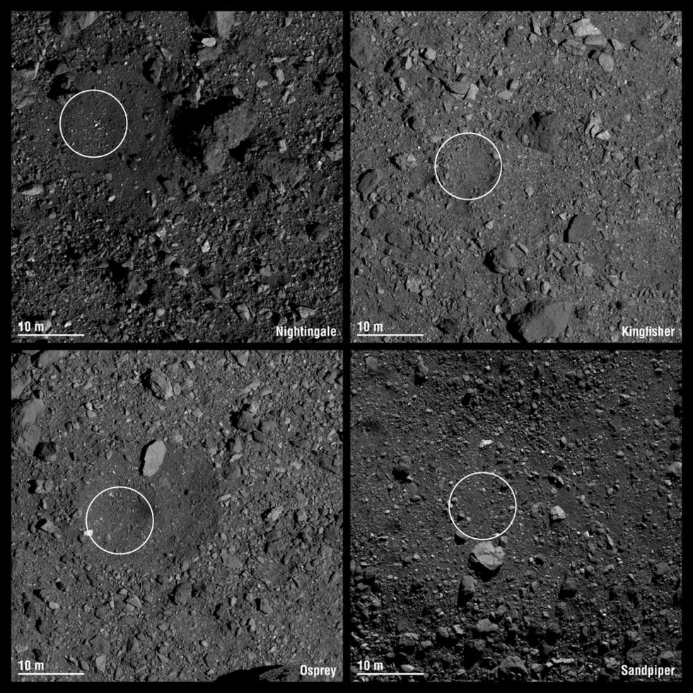NASA har utsett fyra landningsplatser på asteroiden Bennu