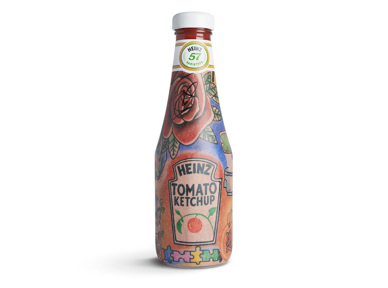 Heinz-flaskor med Ed Sheerans tatuering