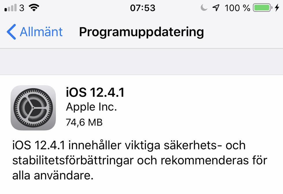 Apple fixar bugg i iOS 12.4