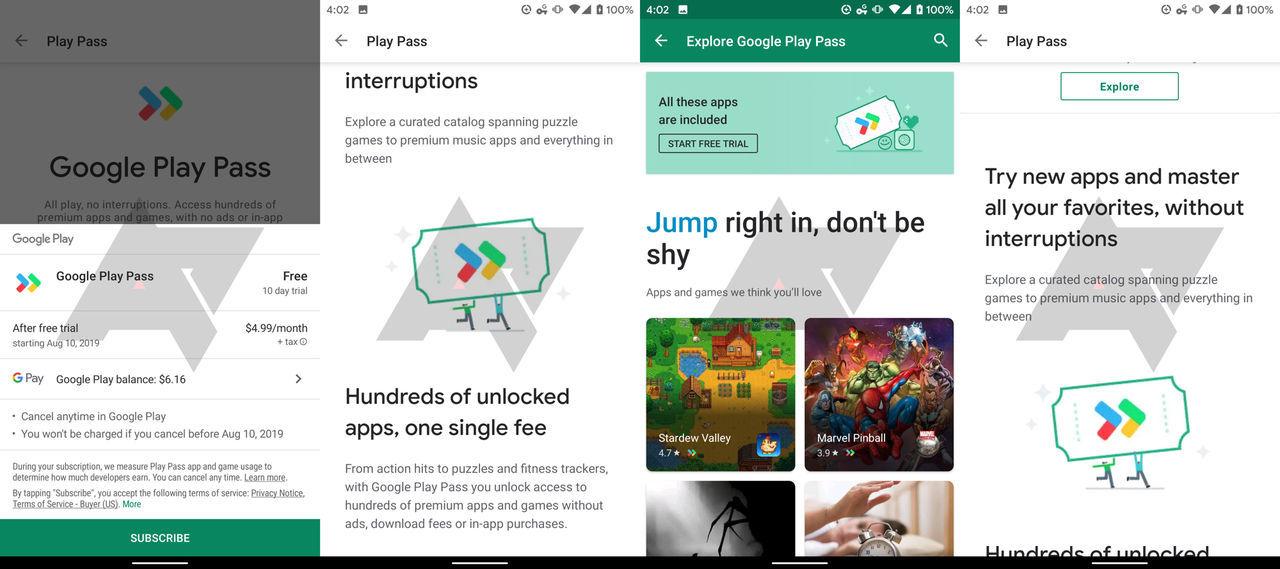 Google meddelar att Play Pass är på ingång