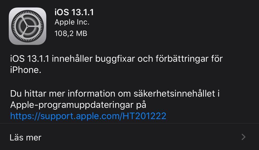 iOS och iPadOS 13.1.1 släppt