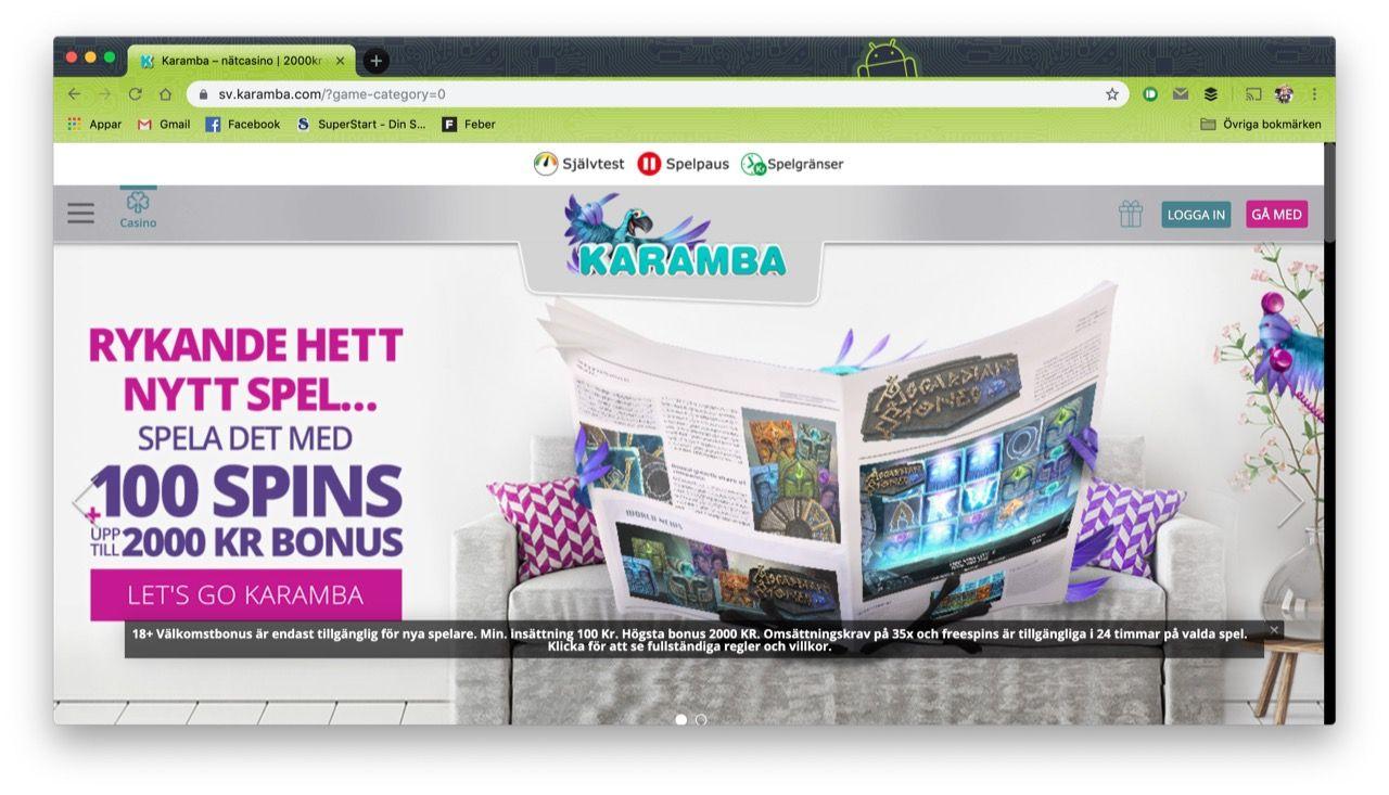 Spelbolaget Karamba anses ha brutit mot spellagen