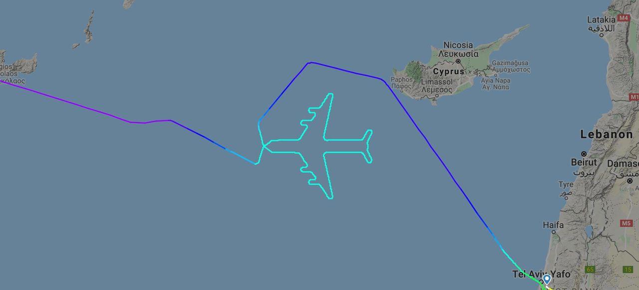 Jumbojet sa hejdå genom att rita flygplan i himlen