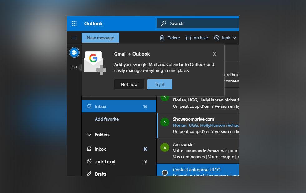 Microsoft testar att integrera Gmail i Outlook