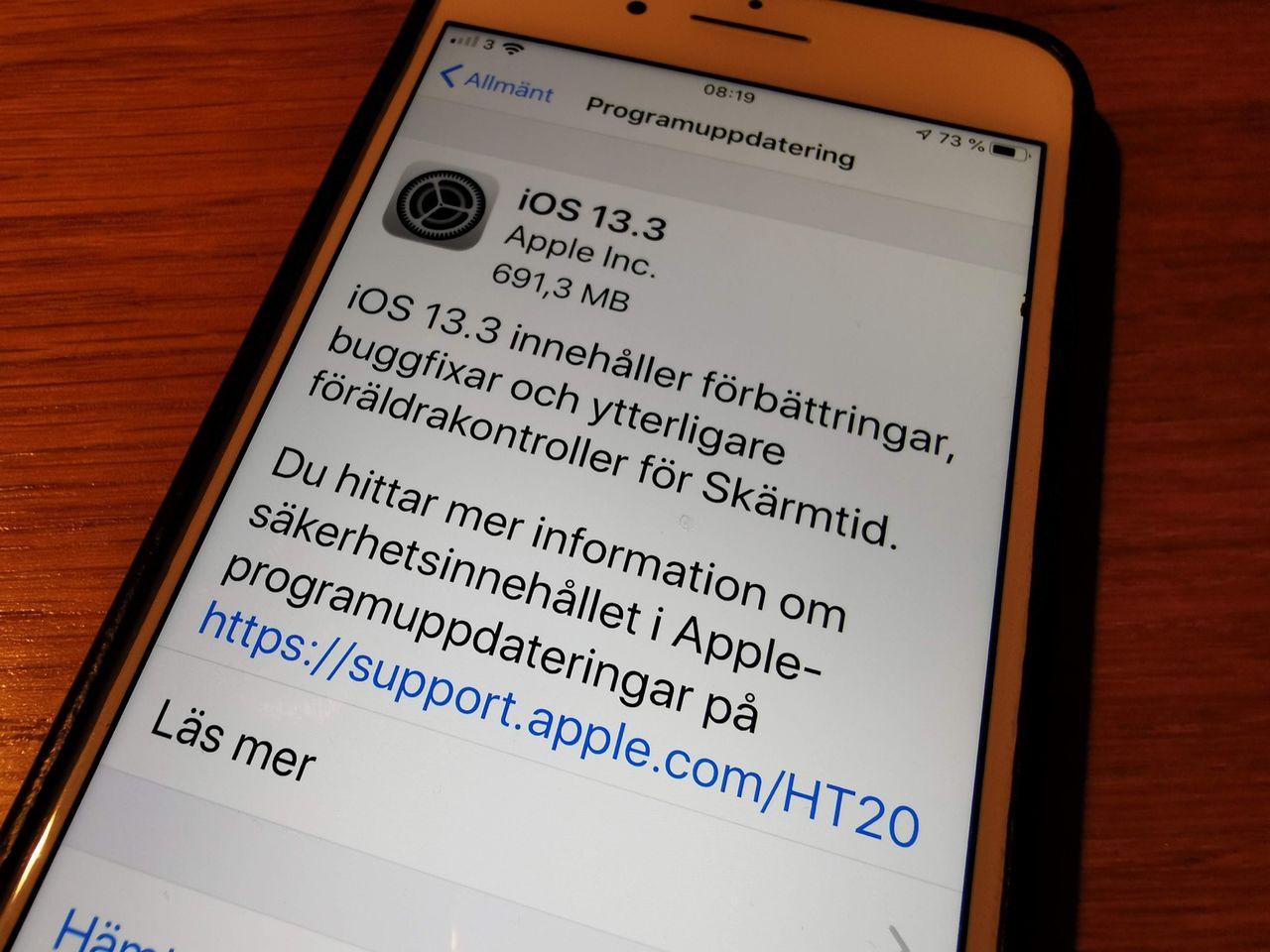 Apple släpper iOS 13.3