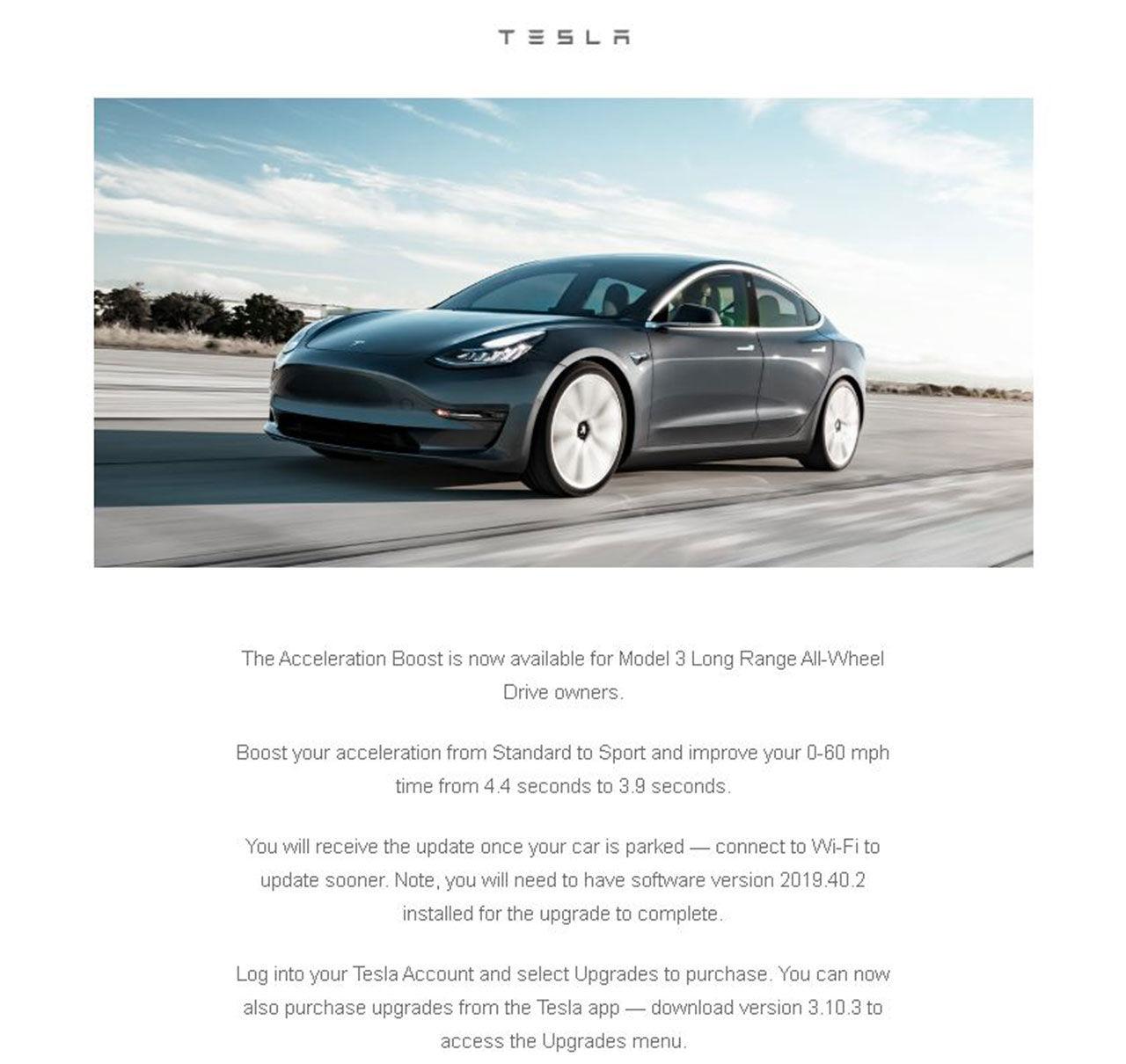 2000 dollar ger dig snabbare acceleration i Model 3