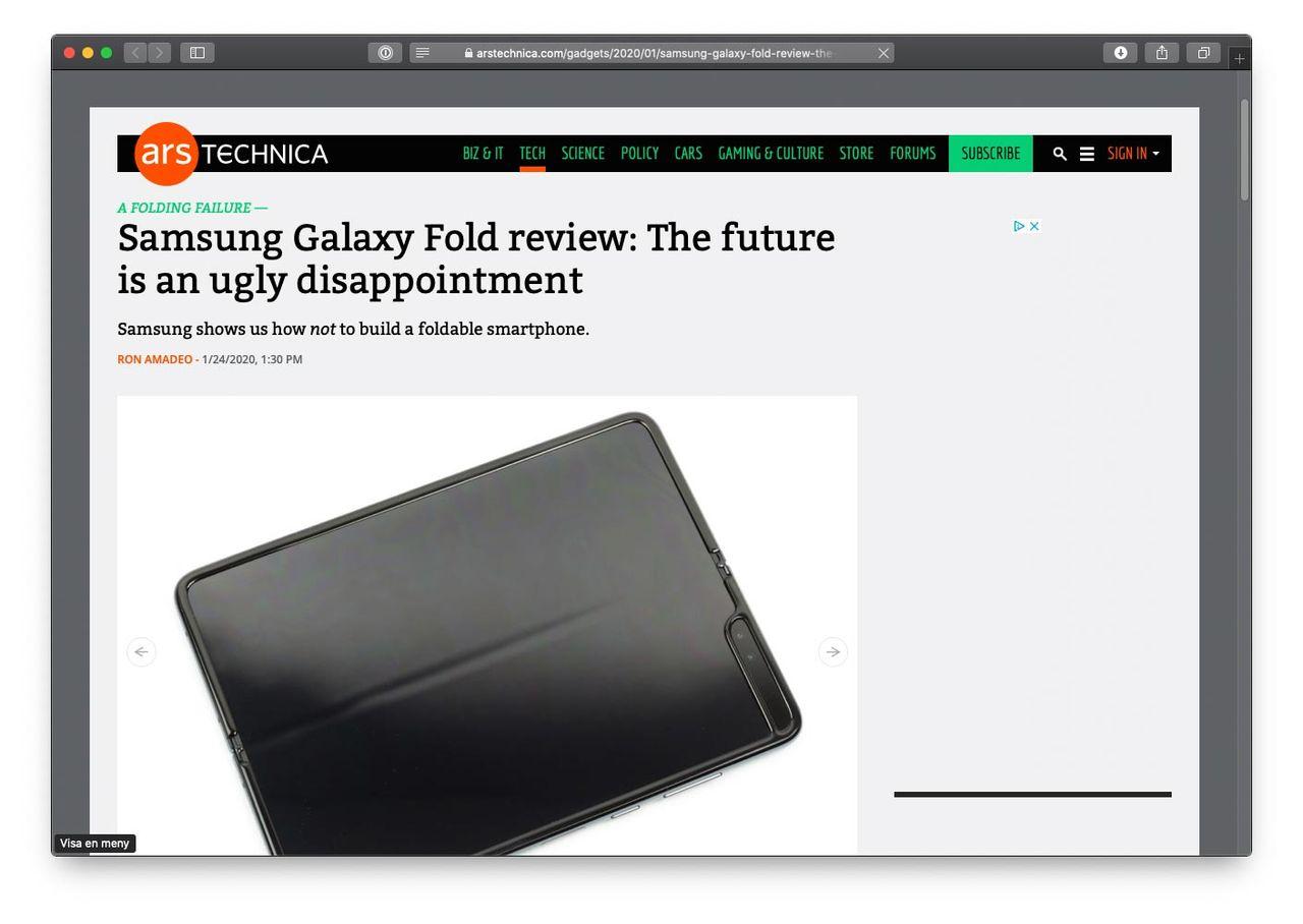 ArsTechnica recenserar Samsung Galaxy Fold