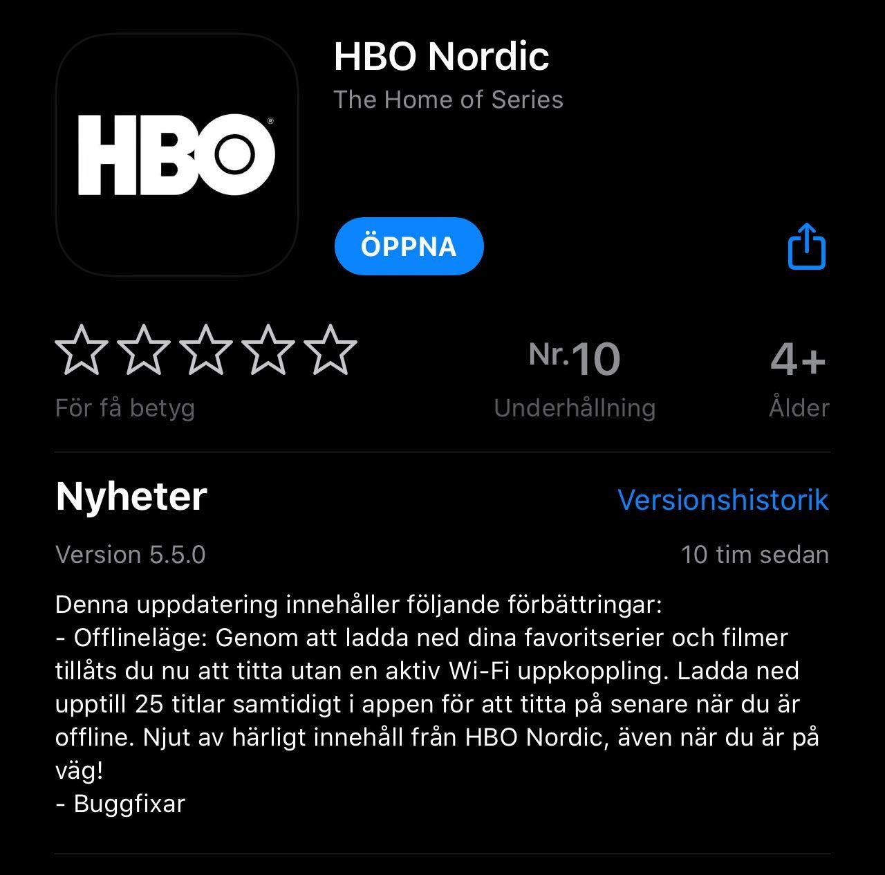 HBO Nordic tillåter äntligen nerladdning! Ha 25 titlar