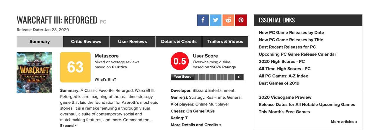 Warcraft III: Reforged recensionsbombas på Metacritic