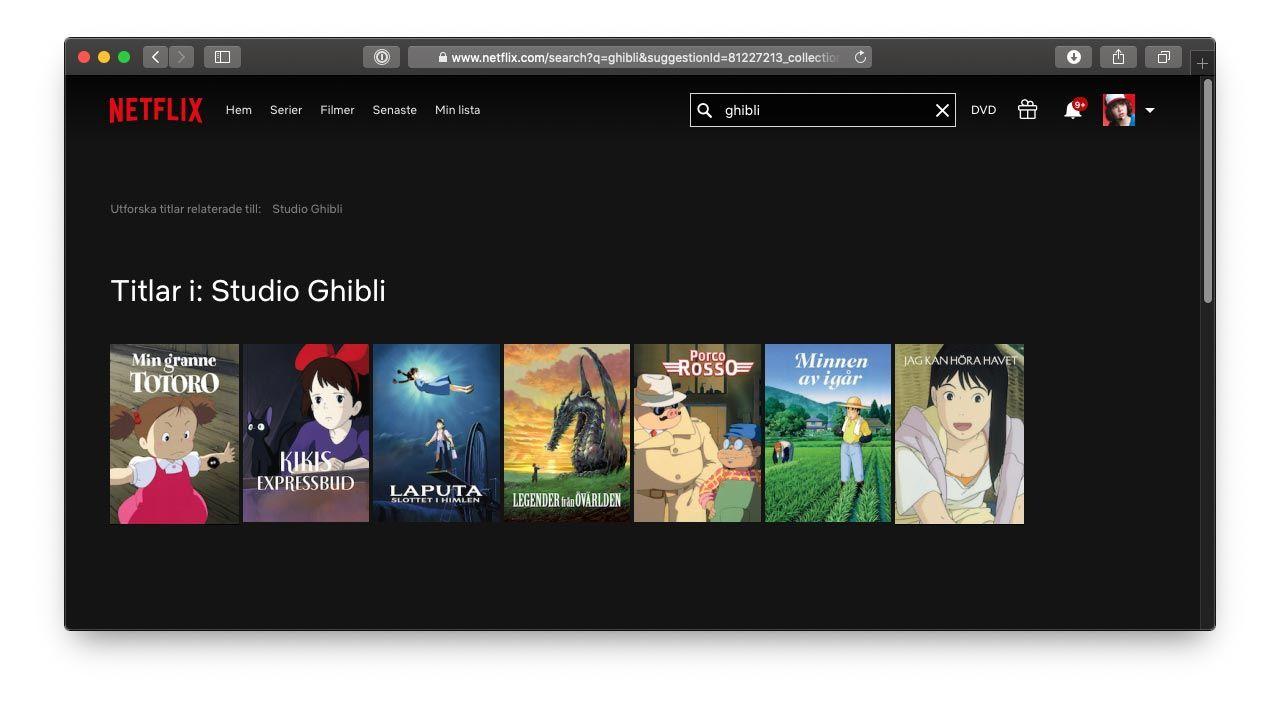 Nu kan du se Studio Ghibli-filmer på Netflix