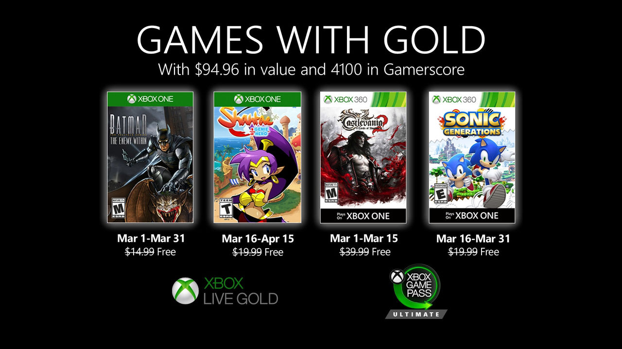 Microsoft presenterar mars månads Games with Gold
