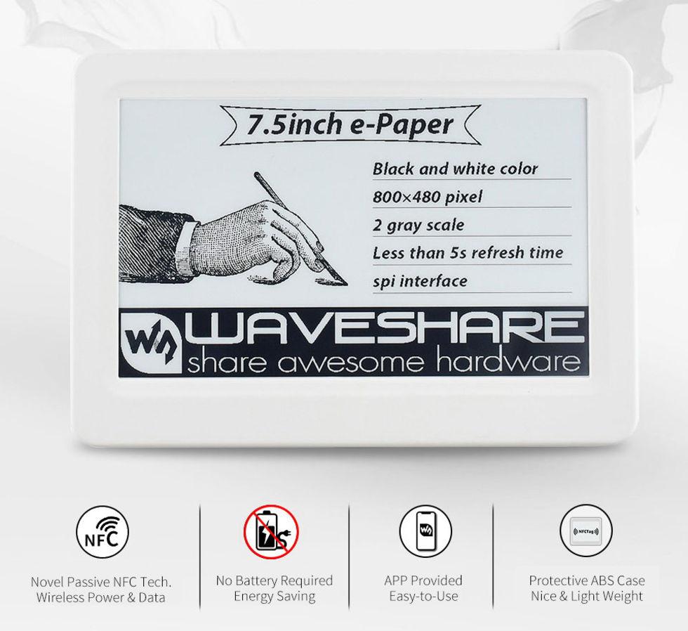 Waveshare släpper skärm som drivs via NFC