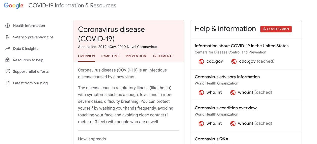 Google lanserar webbplats för coronaviruset