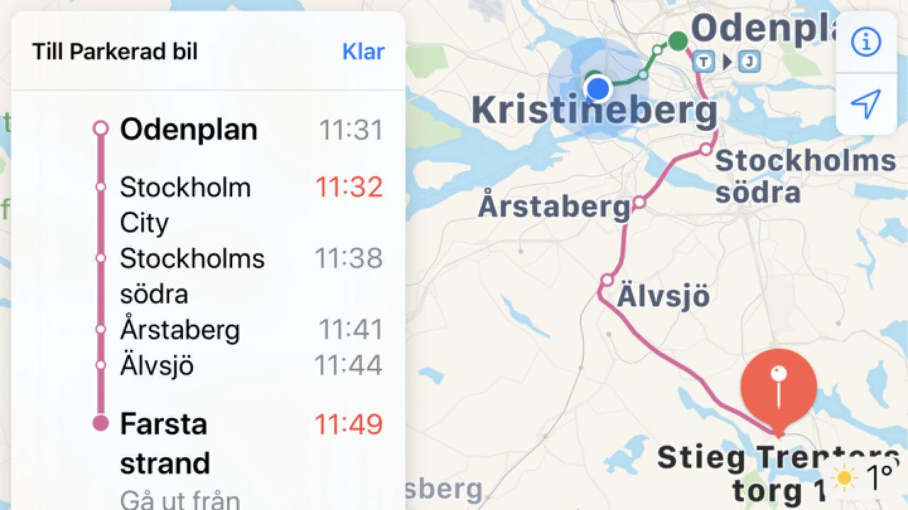 Apple Kartor visar nu realtid för kollektivtrafiken