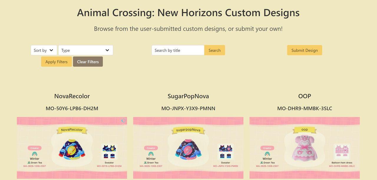Dela med dig av kläddesigner med Animal Crossing-sida