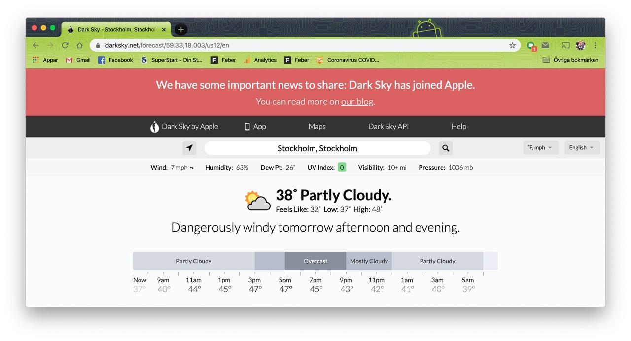 Apple köper upp väderappen Dark Sky Dåliga nyheter för appens androidanvändare