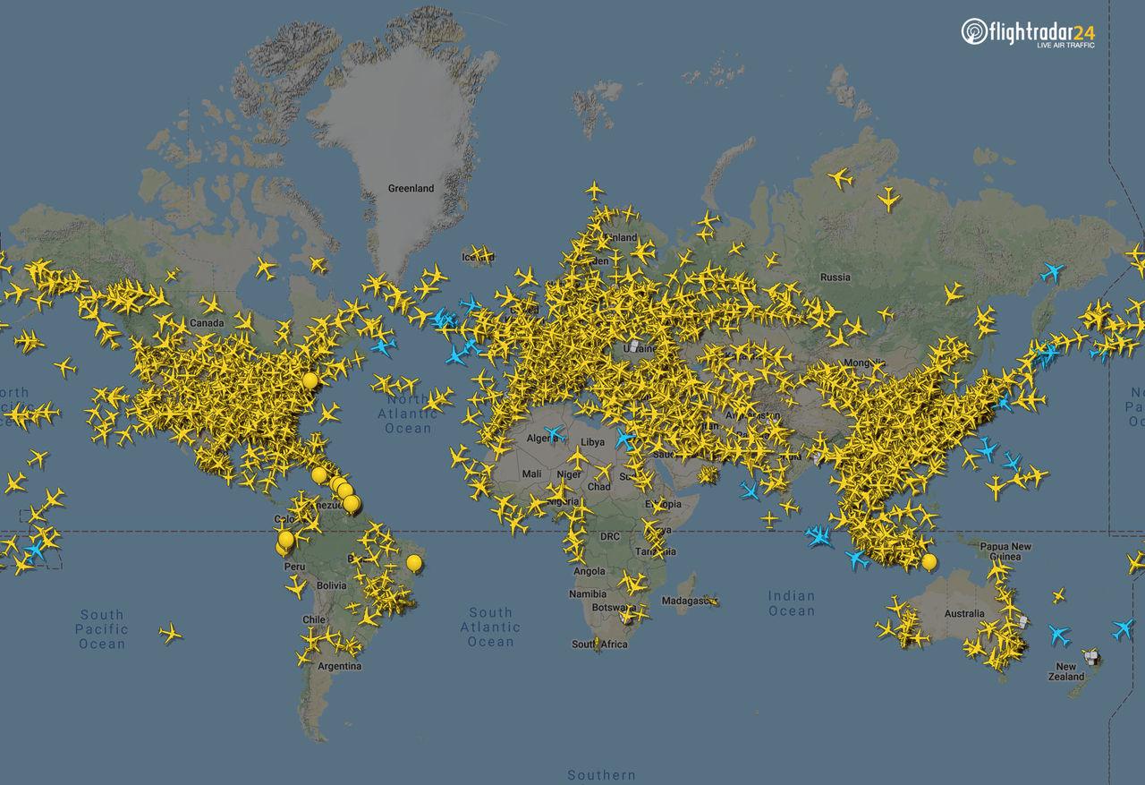 Den globala flygtrafiken har minskat på grund av pandemin