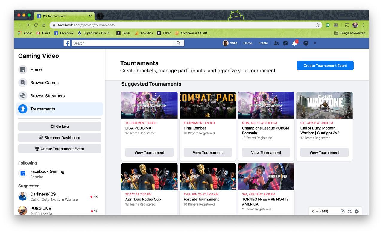 Facebook låter användare dra igång egna esports-turneringar