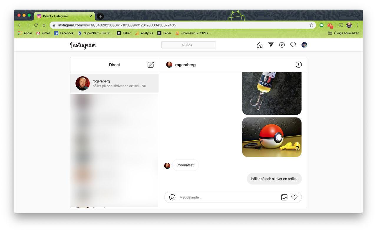 Direktmeddelande på Instagram nu tillgängligt på webben