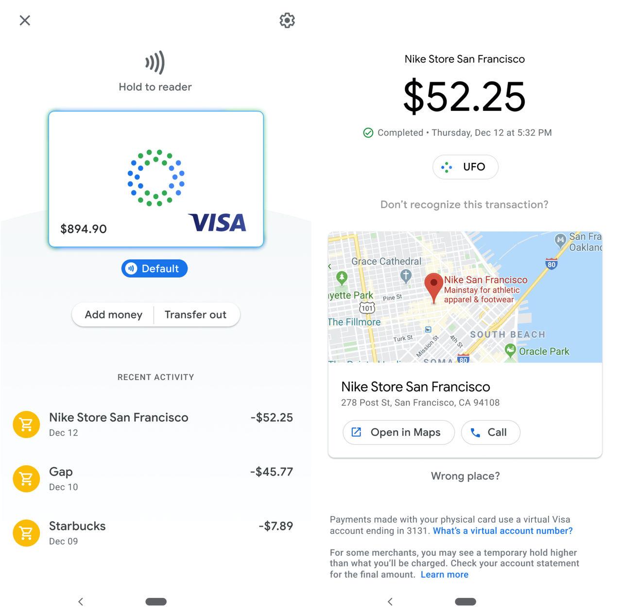 Google ser ut att ha ett bankkort på gång