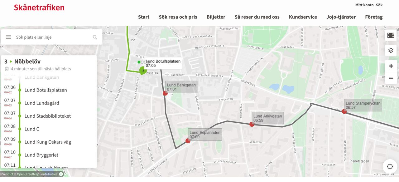 Karta visar om skånska bussar är fulla