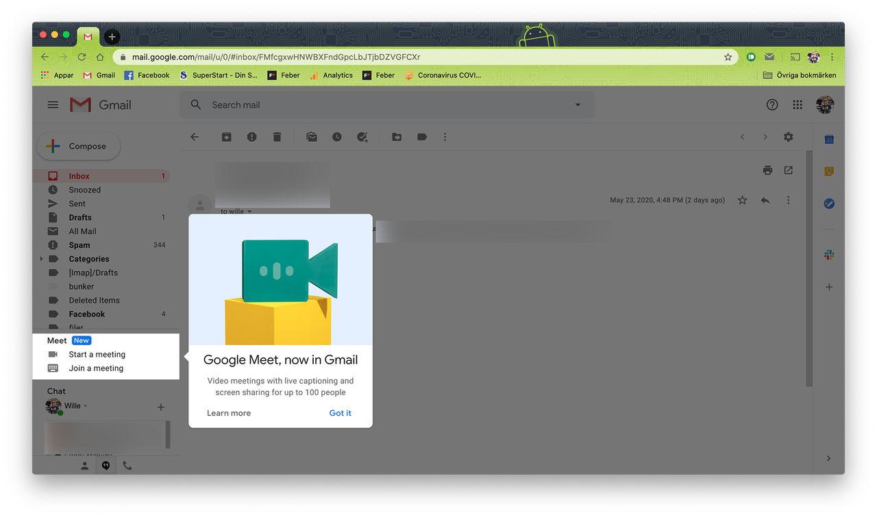 Nu finns Google Meet i Gmail