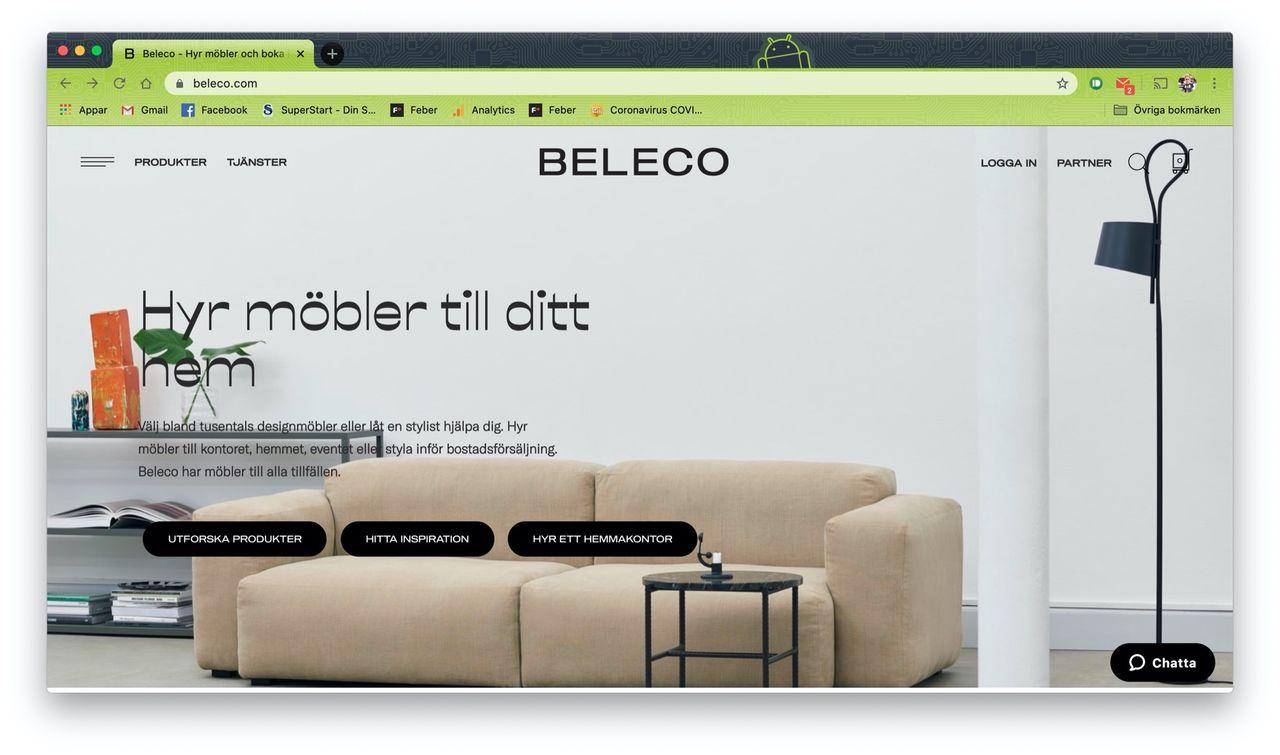 Beleco hyr ut designmöbler till ditt hem eller kontor