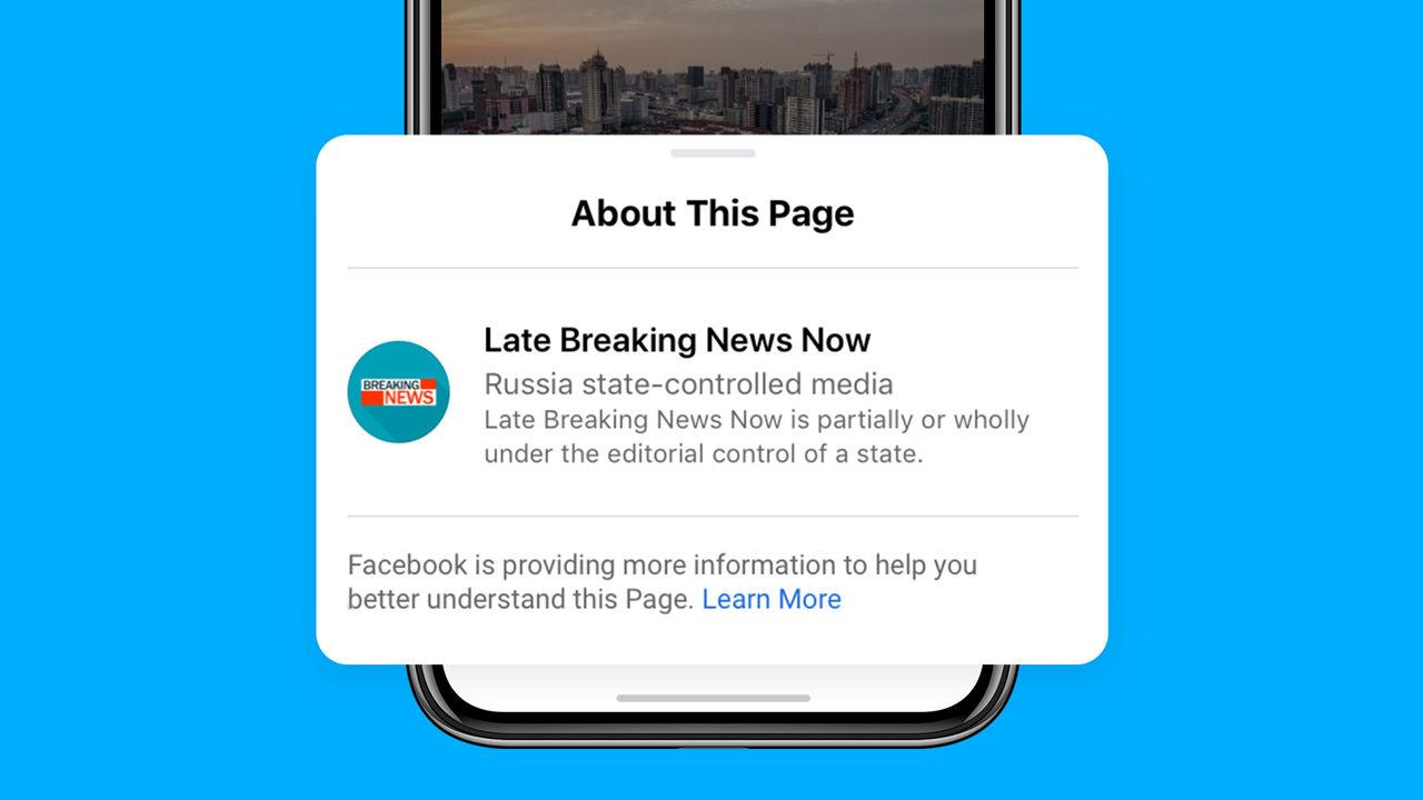 Facebook börjar märka upp inlägg från statliga nyhetsmedier