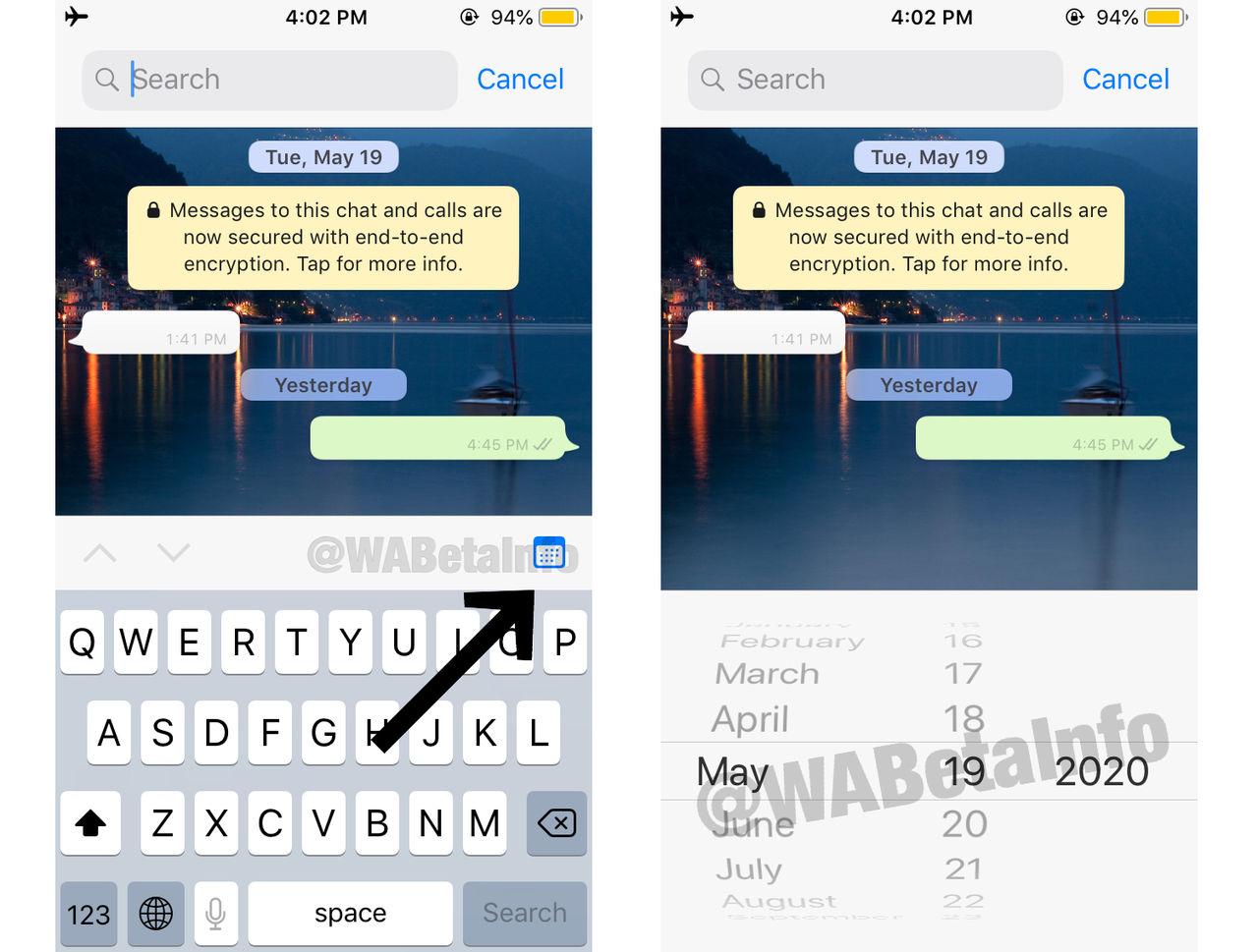Sök WhatsApp-meddelanden efter datum