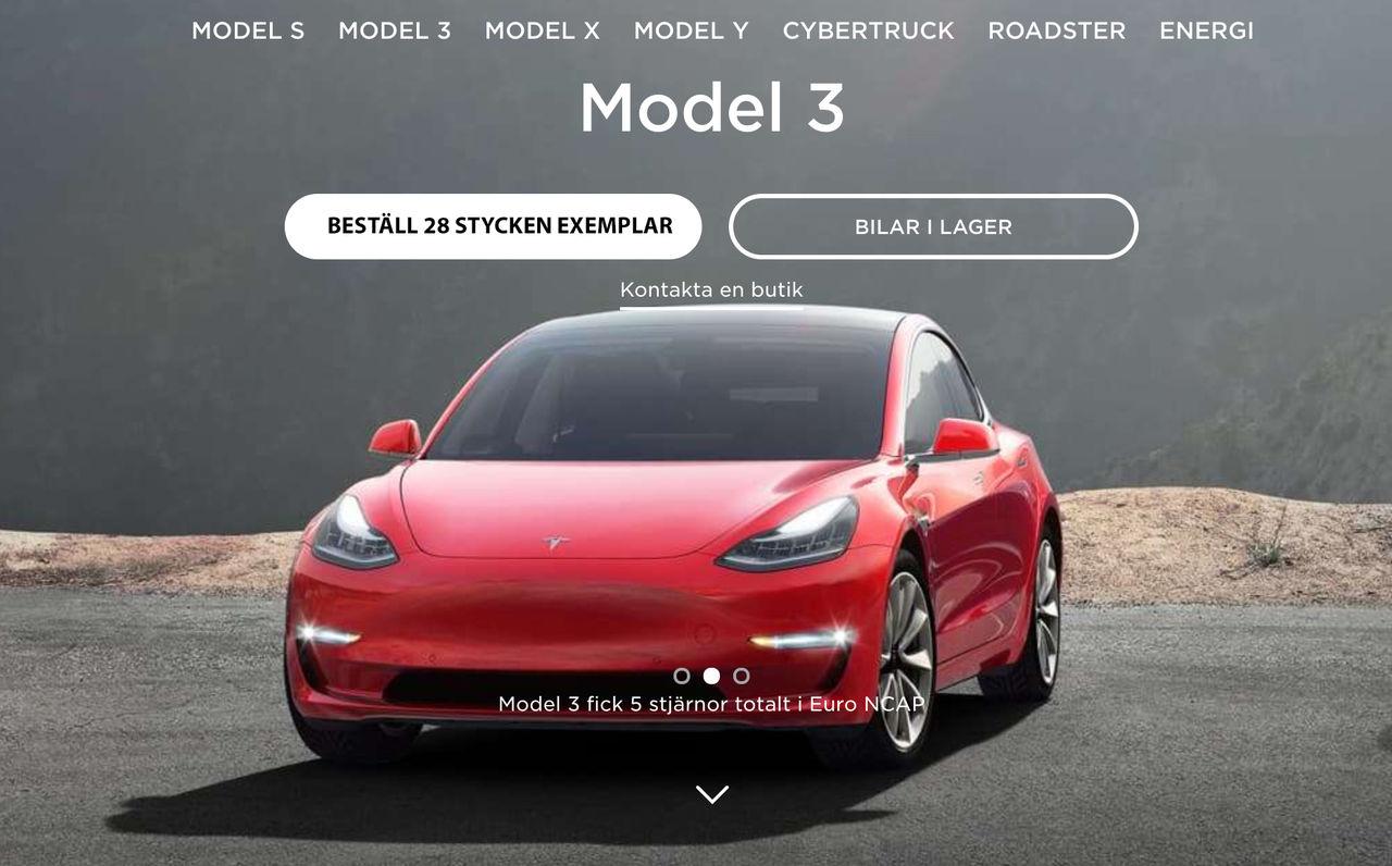 Tysk råkade beställa 28 stycken Tesla Model 3