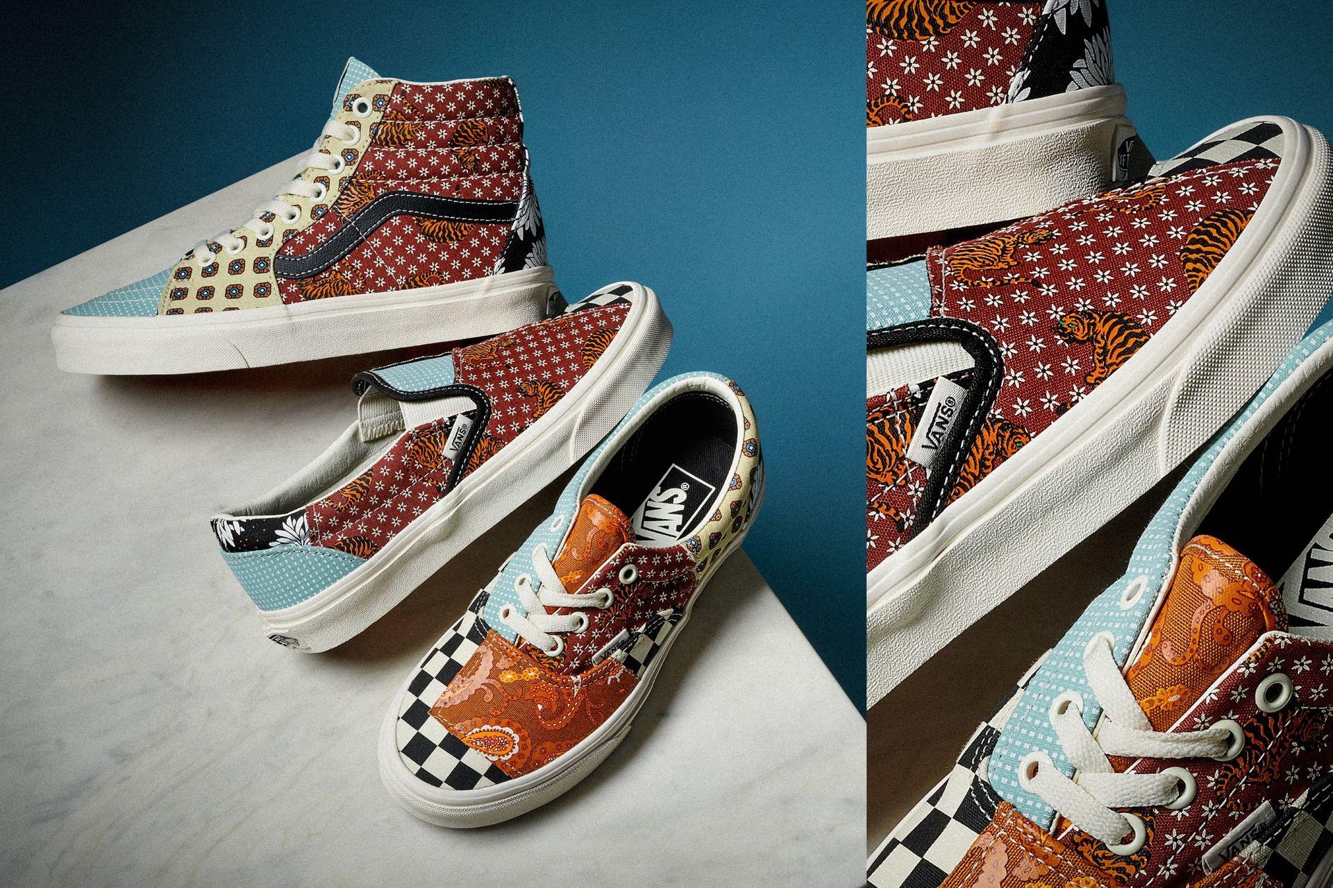 Tre klassiska Vans-skor med lappverk