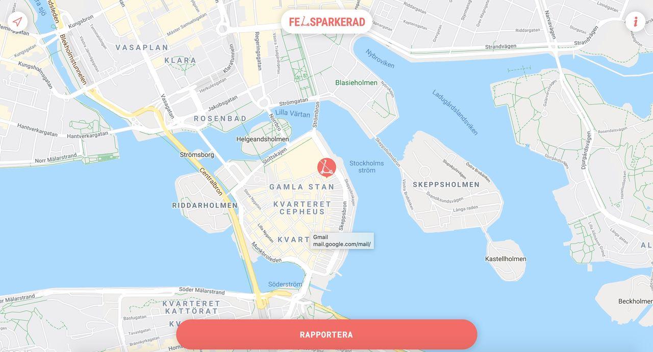 Anmäl felparkerade elsparkcyklar med felsparkerad.se