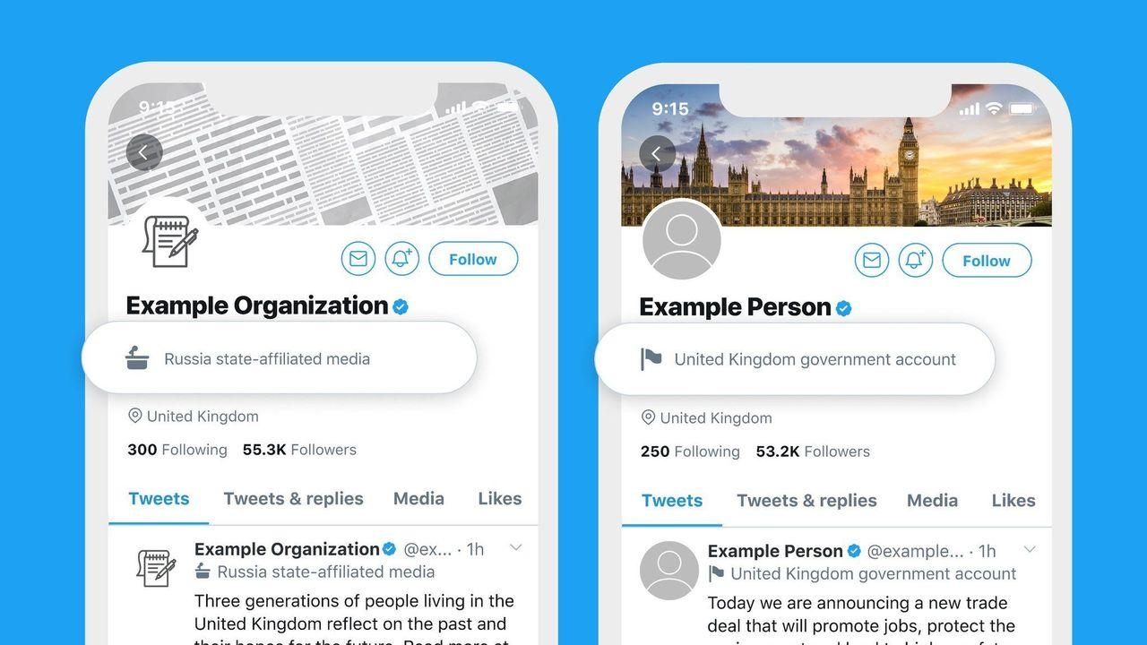 Twitter börjar märka upp statskontrollerade konton