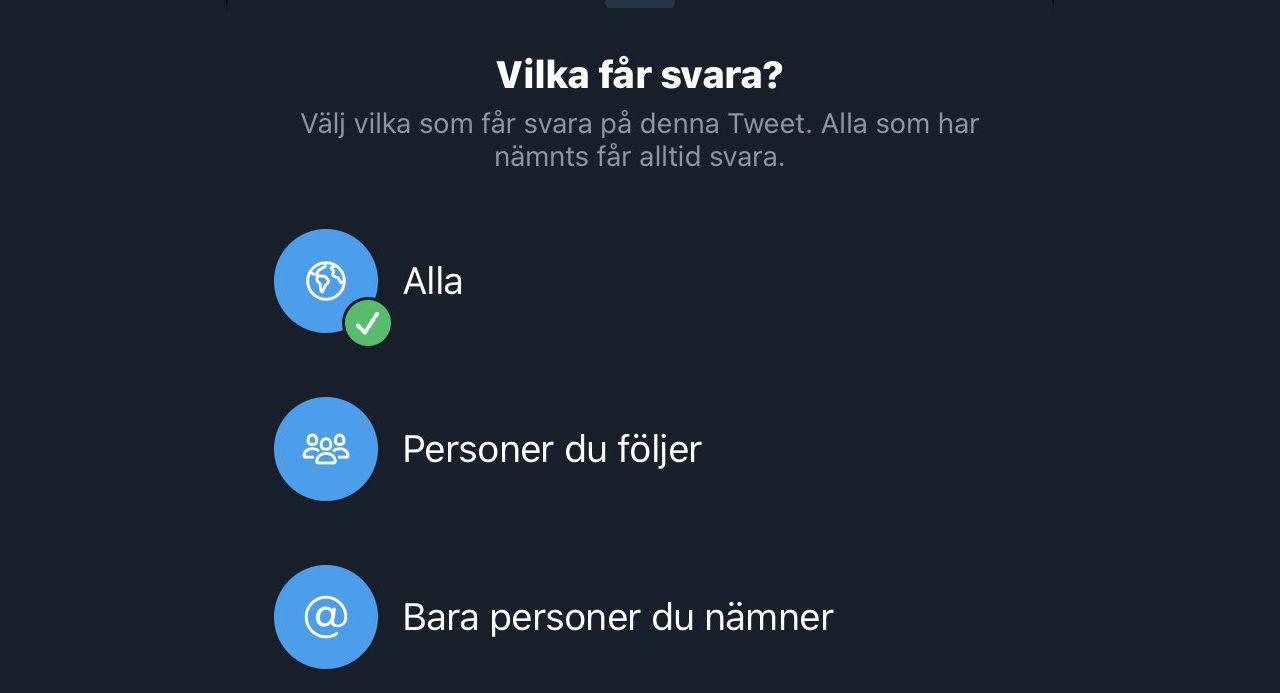 Nu kan du bestämma vem som får svara på dina tweets